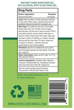 Ashville Botanicals - Sanitizer Hand - Cs Of 12-32 Fz
