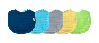 Green Sprouts - Bibs Muslin Blue 0-12mo - 1 Each - 5 Ct
