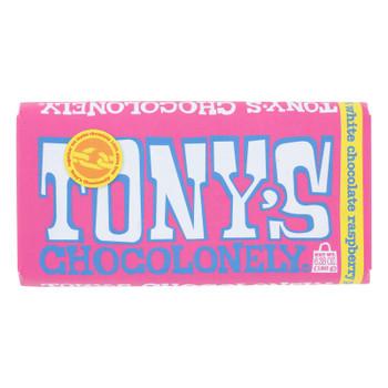 Tony's Chocolonely - Bar White Chocolate Raspberry Pop - Case Of 15 - 6.35 Oz