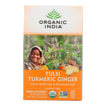 Organic India Tea - Organic - Tulsi - Turmeric Ginger - 18 Bags - Case Of 6