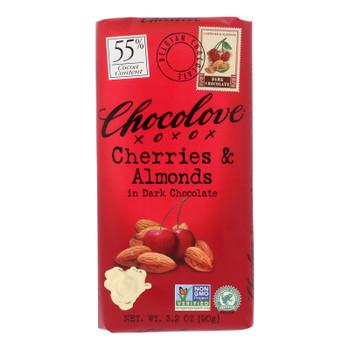 Chocolove Xoxox - Premium Chocolate Bar - Dark Chocolate - Cherries And Almonds - 3.2 Oz Bars - Case Of 12