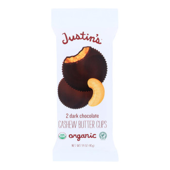 Justin's Nut Butter Cashew Butter Cups - Dark Chocolate - Case Of 12 - 1.4 Oz.