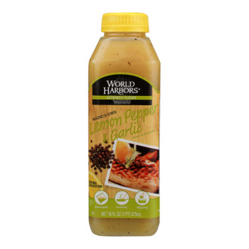 World Harbor Lemon Pepper And Garlic Seafood And Poultry Sauce And Marinade - Case Of 6 - 16 Fl Oz.