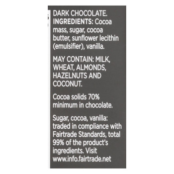 Divine - Bar Chocolate Dark 70% Cocoa - Case Of 12 - 3 Oz