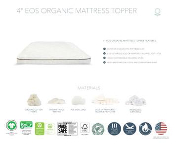 "Naturepedic EOS 4"" Organic Mattress Topper Soft"