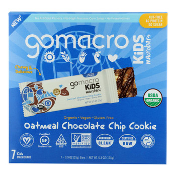 Gomacro - Kids Macrobar Oatmeal Chocolate Chip - Case Of 7 - 6.3 Oz