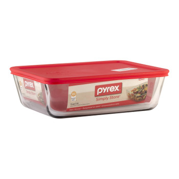 Pyrex - Storage Plus 11 Cup Rectangular Red - Case Of 2-1 Ct