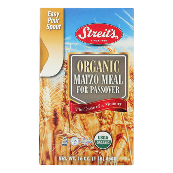 Streit's Organic Matzo Meal For Passover  - Case Of 12 - 16 Oz