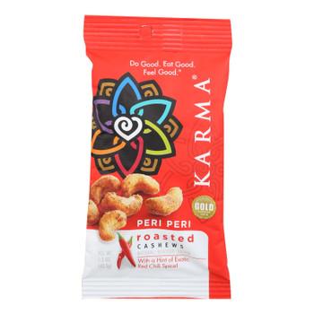 Karma Peri Peri Exotic Red Chili Spice Roasted Cashews  - Case Of 12 - 1.5 Oz