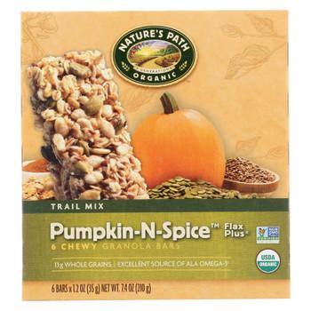 Nature's Path Organic Flax Plus Granola Bar - Pumpkin-n-spice - Case Of 6 - 7.4 Oz.