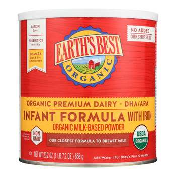 Earth's Best Organic Infant Formula With Iron - Case Of 4 - 23.2 Oz.