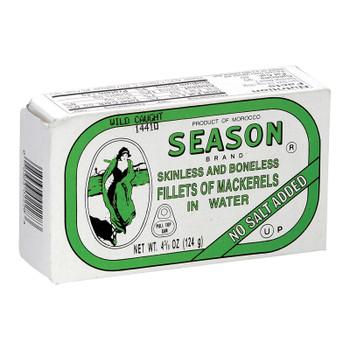 Season Brand Skinless And Boneless Mackerel Fillets In Water - No Salt Added - Case Of 12 - 4.375 Oz.