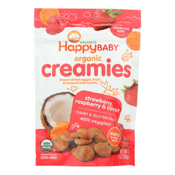 Happy Creamies Organic Snacks - Strawberry And Raspberry - Case Of 8 - 1 Oz