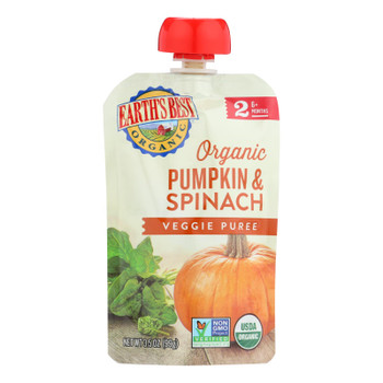 Earth's Best Organic Pumpkin And Spinach Baby Food Puree - Stage 2 - Case Of 12 - 3.5 Oz.