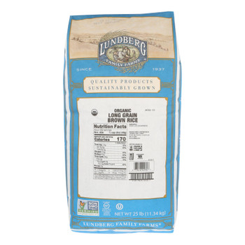 Lundberg Family Farms Organic Long Grain Brown Rice - Case Of 25 Lbs