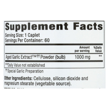 Kyolic - Aged Garlic Extract One Per Day Cardiovascular - 1000 Mg - 60 Caplets