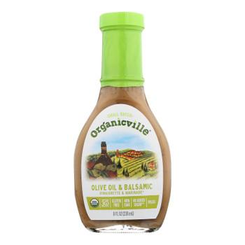 Organic Ville Organic Vinaigrette - Olive Oil And Balsamic - Case Of 6 - 8 Fl Oz.