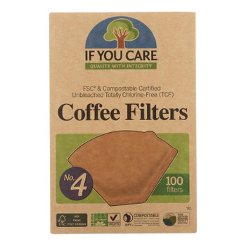 If You Care #4 Cone Coffee Filters - Brown - Case Of 12 - 100 Count