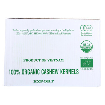Bulk Nuts - Cashews - Organic - Whole - Raw - Case Of 25 Lbs