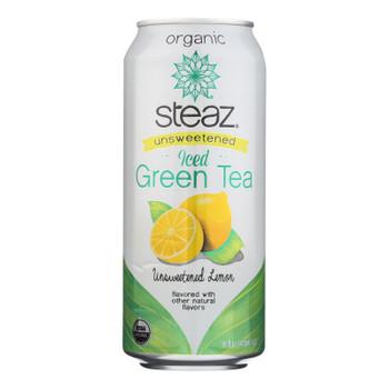 Steaz Unsweetened Green Tea - Lemon - Case Of 12 - 16 Fl Oz.