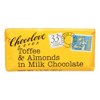 Chocolove Xoxox - Premium Chocolate Bar - Milk Chocolate - Toffee And Almonds - Mini - 1.3 Oz Bars - Case Of 12