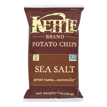 Kettle Brand Potato Chips - Sea Salt - Case Of 15 - 5 Oz.