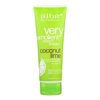 Alba Botanica - Moisturizing Cream Shave For Men And Women Coconut Lime - 8 Fl Oz