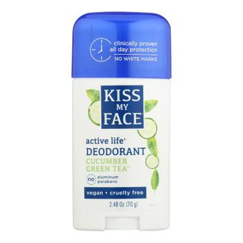 Kiss My Face Deodorant Active Life Cucumber Green Tea Aluminum Free - 2.48 Oz