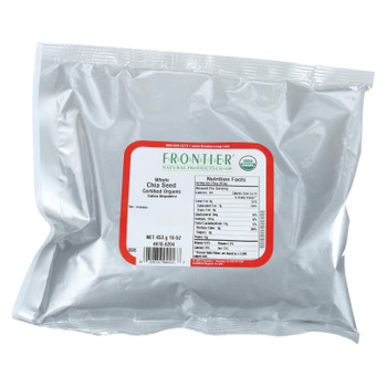 Frontier Herb Chia Seed - Organic - Whole - Bulk - 1 Lb