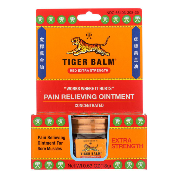 Tiger Balm Extra Strength Pain Relieving Ointment - 0.63 Oz - Case Of 6