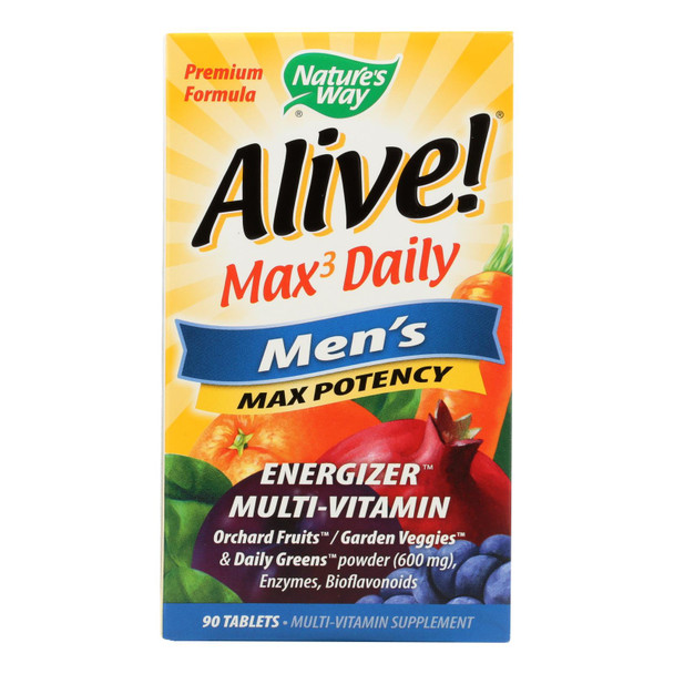 Nature's Way - Alive! Max3 Men's Multi-vitamin - Max Potency - 90 Tablets