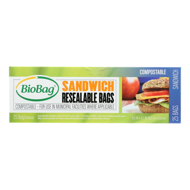 Biobag - Resealable Sandwich Bags - Case Of 12 - 25 Count