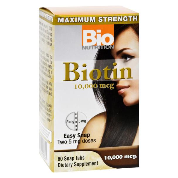 Bio Nutrition - Inc Biotin - 10000 Mcg - 60 Tablets