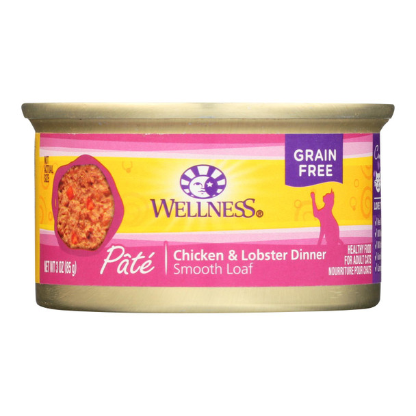 Wellness Pet Products Cat Food - Chicken And Lobster - Case Of 24 - 3 Oz.