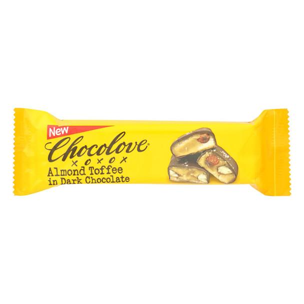 Chocolove Xoxox - Bar - Almond Toffee - Dark Chocolate - Case Of 12 - 1.41 Oz