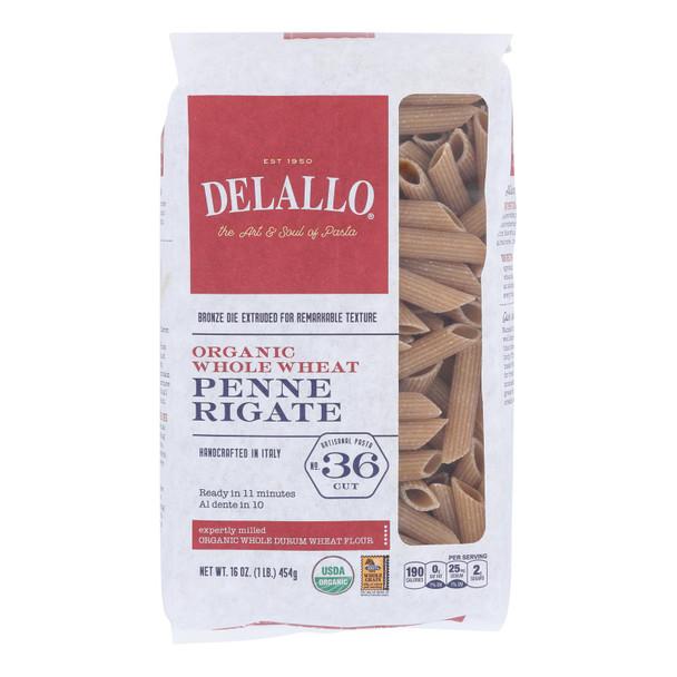 Delallo - Organic Whole Wheat Penne Rigate Pasta - Case Of 16 - 1 Lb.