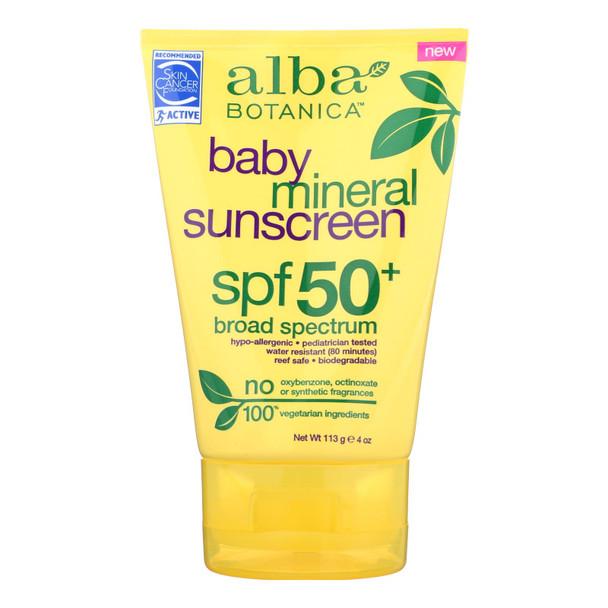 Alba Botanica - Sunscreen - Spf 50 Broad Spectrum - Case Of 1 - 4 Oz.