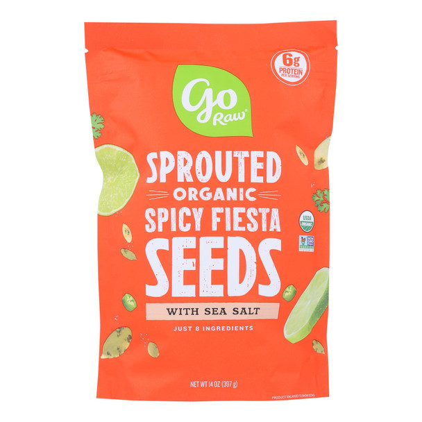 Go Raw, Sprouted Spicy Fiesta Seeds With Celtic Sea Salt - Case Of 6 - 14 Oz