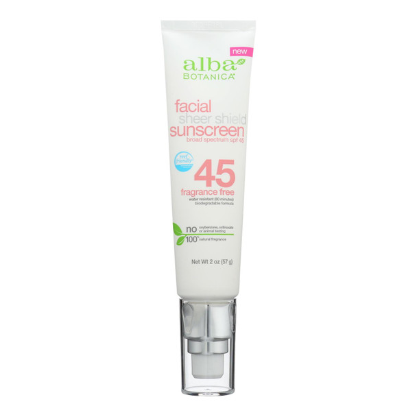 Alba Botanica - Sunscreen Facial Spf 50+ - 1 Each - 2 Oz