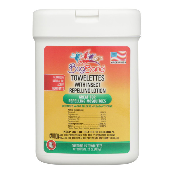 Bug Band - Towelette Insect Repellnt - Case Of 12 - 15 Ct