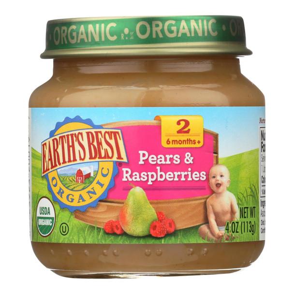 Earth's Best - Stage 2 Pears & Raspbry - Case Of 10-4 Oz