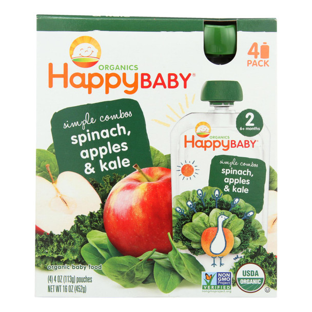 Happy Baby - Stage 2 Apple Spin Kale - Case Of 4-4/3.5 Oz