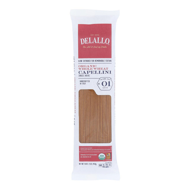 Delallo - Organic Whole Wheat Capellini Pasta - Case Of 16 - 1 Lb.