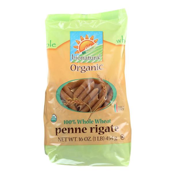 Bionaturae Pasta - Organic - 100 Percent Whole Wheat - Penne Rigate - 16 Oz - Case Of 12