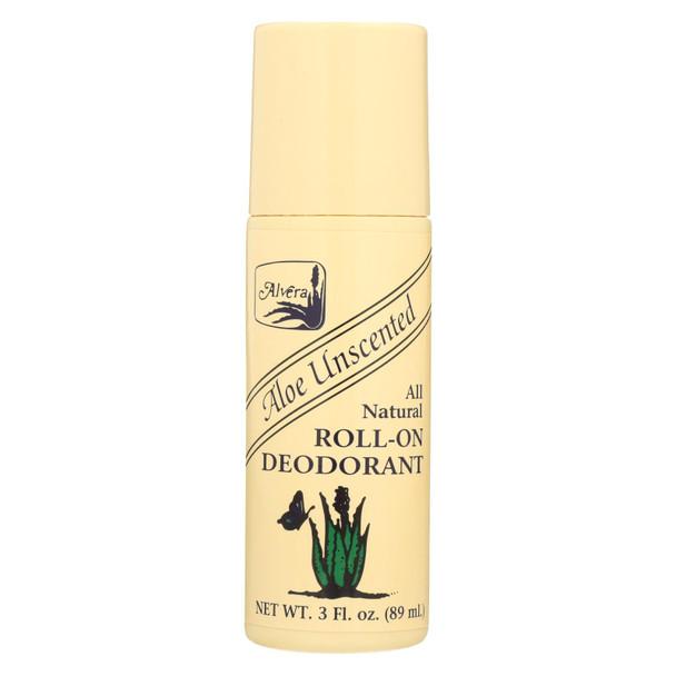 Alvera All Natural Roll-on Deodorant Aloe Unscented - 3 Fl Oz