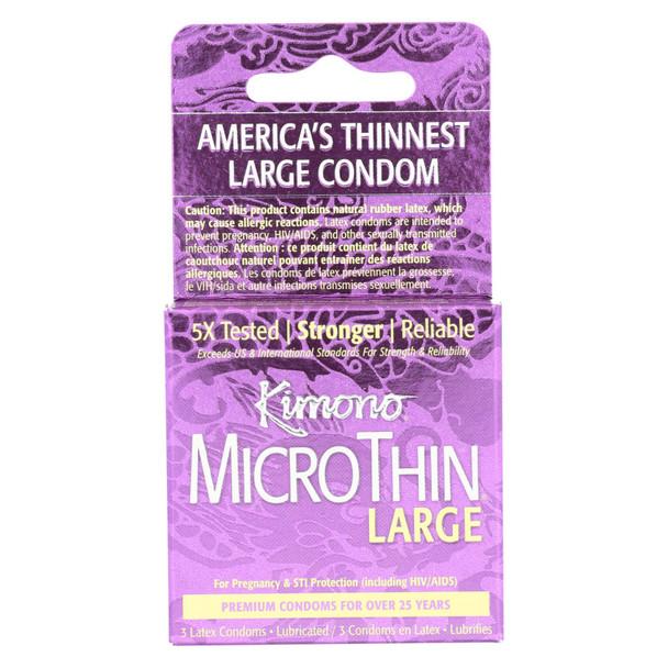 Mayer Laboratories Kimono Condom Microthin Large - 3 Condoms