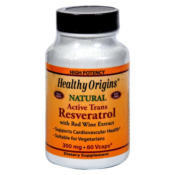Healthy Origins Natural Resveratrol - 300 Mg - 60 Vegetarian Capsules
