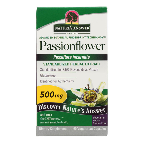 Nature's Answer - Passionflower Extract - 60 Vegetarian Capsules