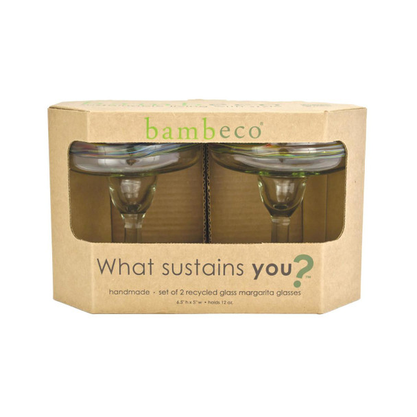 Bambeco Rainbow Recycled Margarita Glass - Case Of 6
