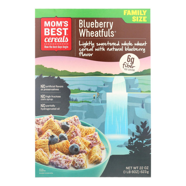 Mom's Best Cereal Lightly Sweetened Whole Wheat Cereal Blueberry Wheatfuls - Case Of 12 - 22 Oz